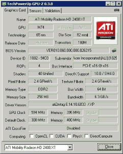 Разгонали видеокарту ATI в ноутбуке Acer Extensa 7620G