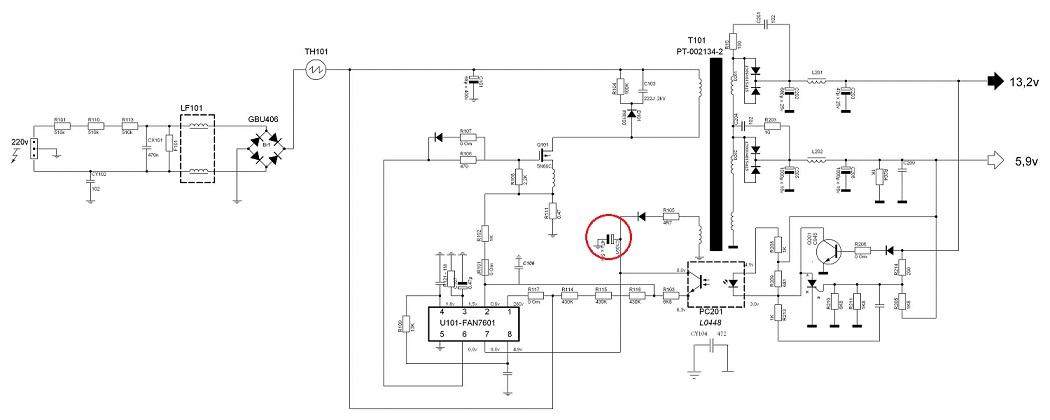 схема питания монитора LG L1740-1950
