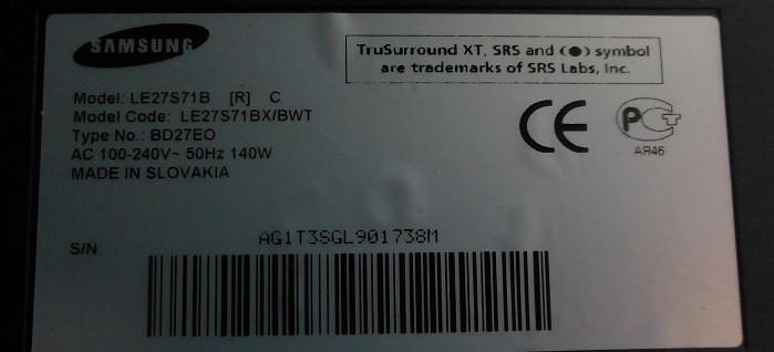 телевизор Samsung LE27S71B не включается