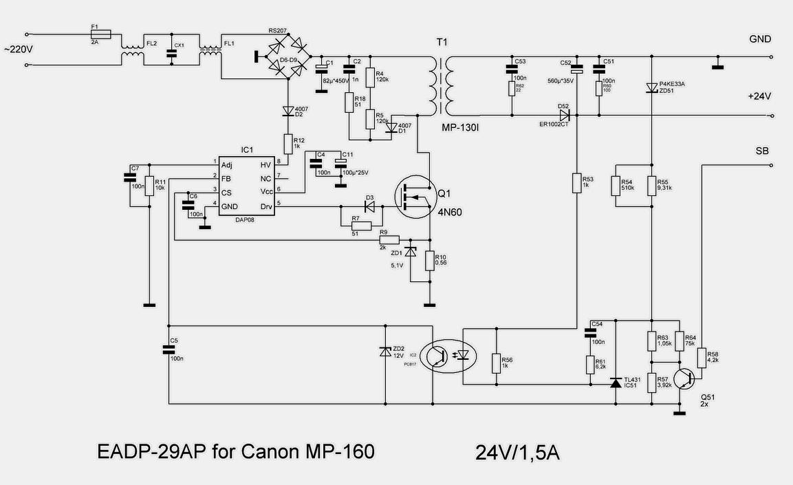 блок питания струйного принтера canon схема
