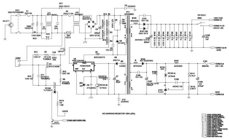 схема блока питания принтера Samsung