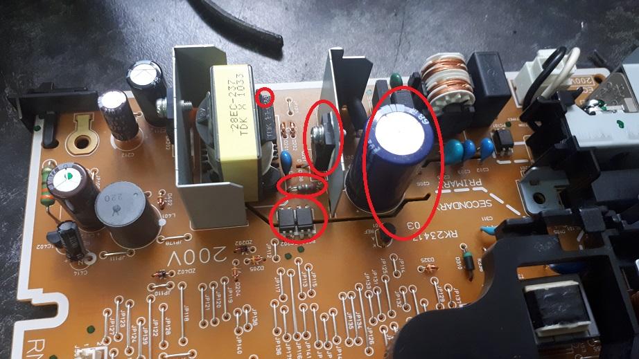 ремонт платы питания HP LJ P1102W