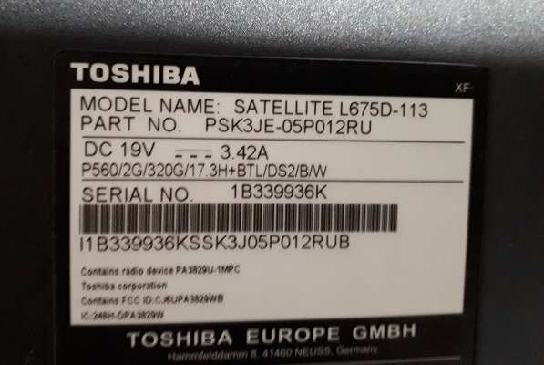 Нет изображения Toshiba L675D-113