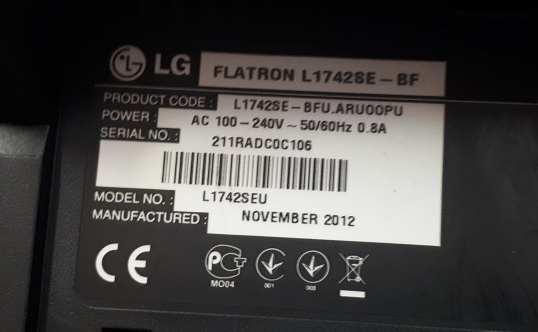 ремонт монитора LG Flatron L1743LE