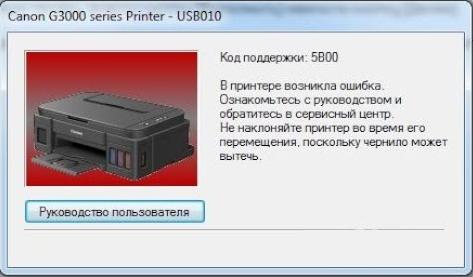 Переполнение абсорбера принтера Canon 5B00